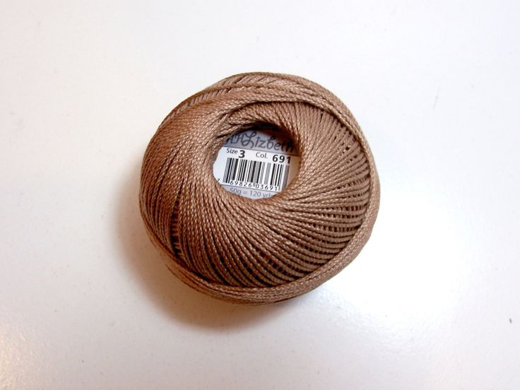 Tatting Thread, Lizbeth Size 3 Cotton Crochet Thread, Medium Mocha Brown, Color number 691, Taupe Brown Thread by GriffithGardens on Etsy