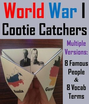 These cootie catchers/ fortune tellers are a great way for students to have fun while learning about the different historical figures, events, and terms associated with World War I. How to Play and Assembly Instructions are included.