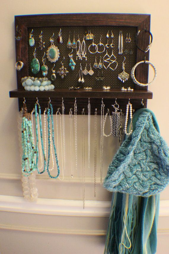 Stained Wall Mounted Jewelry Organizer, Wall Organizer, Jewelry Display, Necklace Holder, Earring Organizer on Etsy, $52.00