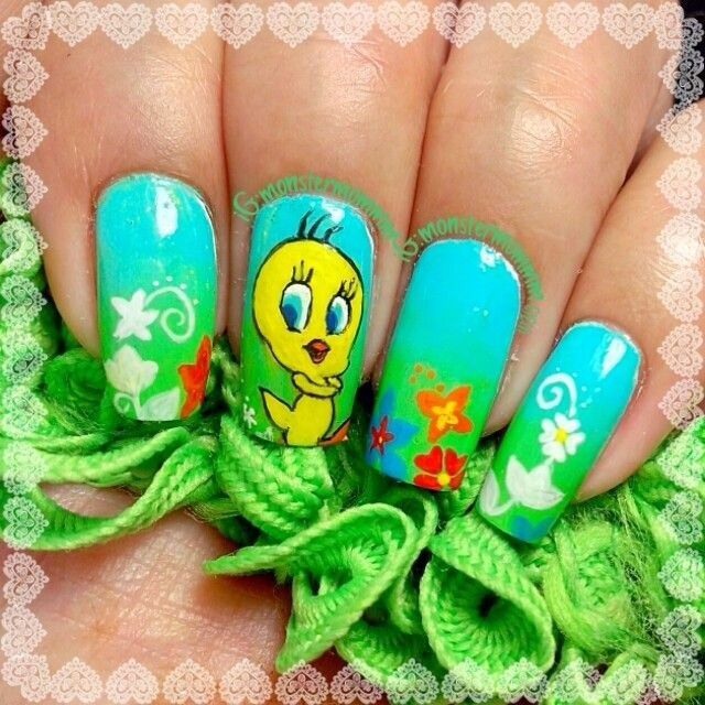 41 best tweety nail art tutorial & video gallery by nded images on ...