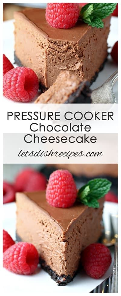 Pressure Cooker Chocolate Cheesecake Recipe: Rich, decadent chocolate cheesecake with a chocolate crumb crust, cooked to perfection in your Instant Pot. #cheesecake #chocolate #instantpot