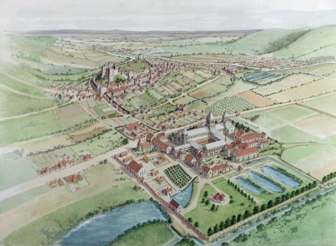 An illustration of the de Warenne lands at Lewes, East Sussex. In the foreground is the Priory of St. Pancras, the first Cluniac house in England. The layout of the town, and even the architecture of the priory, are very similar to that of Castle Acre Priory in Norfolk, built by William II de Warenne, son of the founder of St. Pancras.