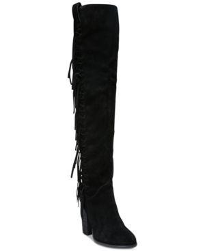 Carlos by Carlos Santana Garrett Knee-High Fringe Boots - Black 5.5M
