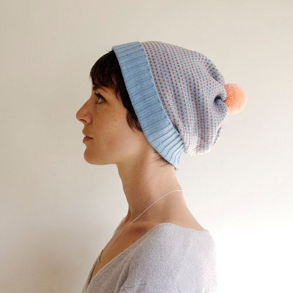 Dotted Hat, Wool Beanie in Ice Blue & Pumpkin with Peach Pom Pom