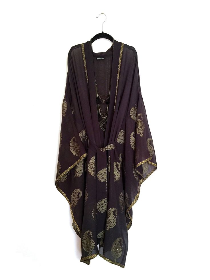 pure silk long kimono jacket beach cover up black and. Black Bedroom Furniture Sets. Home Design Ideas
