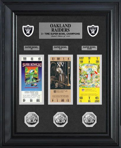 Oakland Raiders Framed Poster Print - Super Bowl 18 XVIII - Tickets - Coins