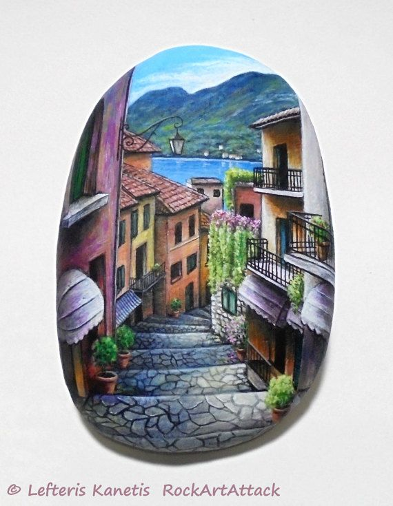 Rock Painting Landscape Old Narrow Street In Bellagio Italy ! Painted with Acrylic paints and finished with Glossy varnish protection.