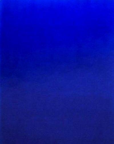 1958  le 28 avril  monochrome bleu, IKB3 - Yves Klein  (1960) pigment pur et résine synthétique  sur gaz montée sur panneau.