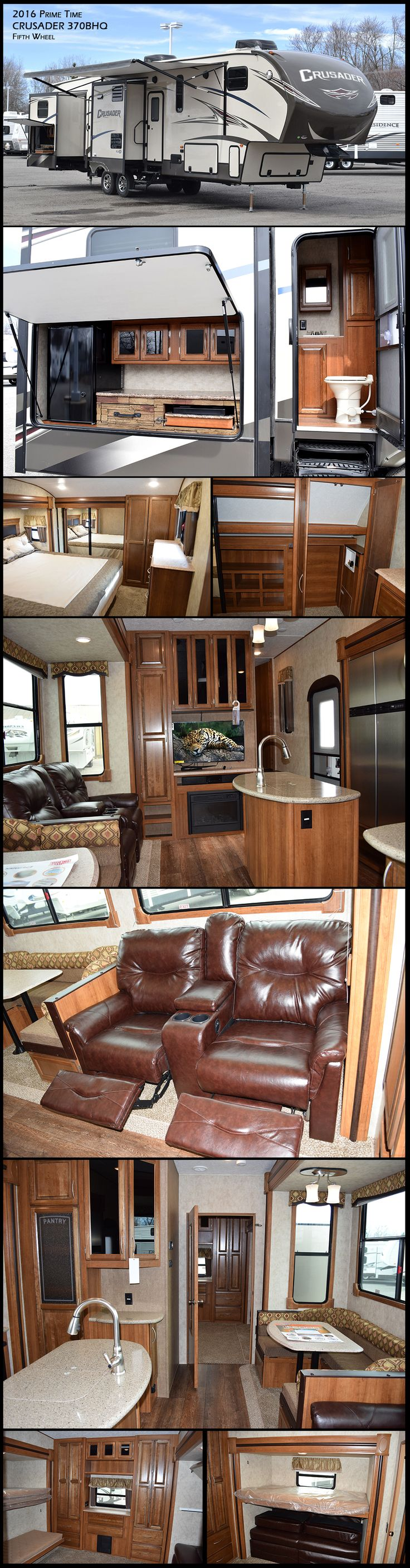 You will find plenty of space in the 2016 CRUSADER 370BHQ Fifth Wheel by Prime Time Manufacturing, featuring a rear bunk house that is ideal for your kids, featuring a sleep & play with a bunk above and a set of bunks on the opposite wall. Directly off of the bunk house there is a convenient half bath with its own door that leads directly to the outside. Enjoy cooking outdoor with the kitchen which has a two burner range and refrigerator.