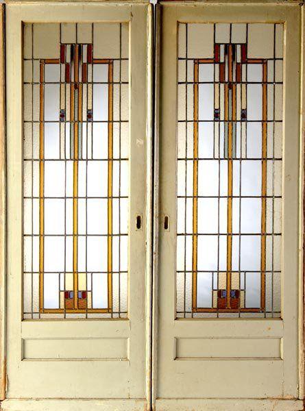 Glass Pocket Doors   371: PRAIRIE SCHOOL Pair of stained glass pocket doors.