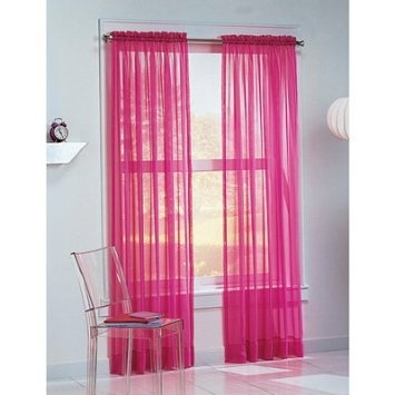 Magenta Sheer Curtains In Living Room With Tall Green Tree