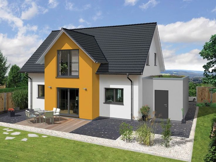 Fassadengestaltung einfamilienhaus modern satteldach  Farbige Akzentflächen. #Haus #Fassade | maison | Pinterest ...
