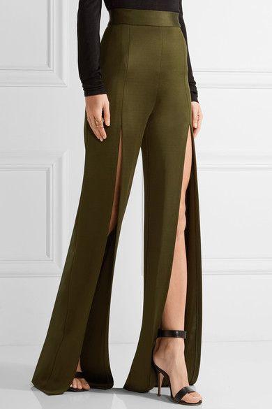 Balmain - Stretch-knit Wide-leg Pants - Army green - FR34