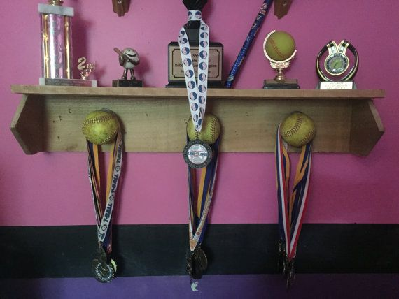 This handcrafted Trophy and Medal shelf is the perfect place to display your (or your childs) softball or baseball trophies and medals. The
