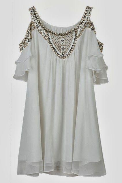 Beaded off shoulder falbala dress fashion trend