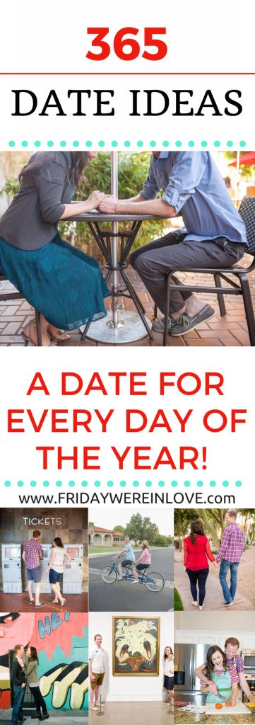 365 Date Ideas_ Fun Date Ideas for Every Day of the year! Tons of amazing date night ideas including free date ideas, cheap date ideas, romantic date ideas, any type of date this list has you covered! Plus there's a free printable too! #datenight #dateideas #couplegoals