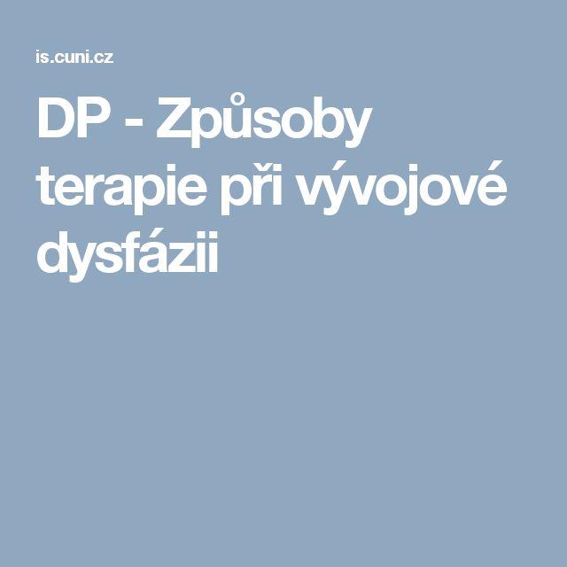 DP - Způsoby terapie při vývojové dysfázii