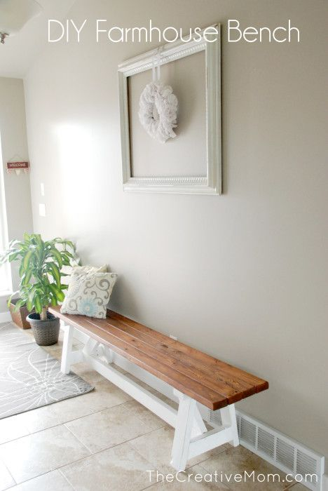 How to Build a DIY Farmhouse Bench (for under $20), and a DOILY WREATH from www.TheCreativeMom.com