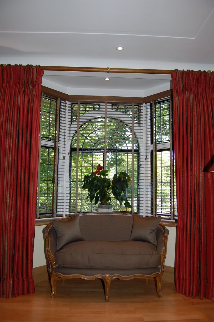 Curtains Straight Pole Over Bay Window With Red Color For Delightful Curtain Inspiring Design Ideas To Create Beautiful