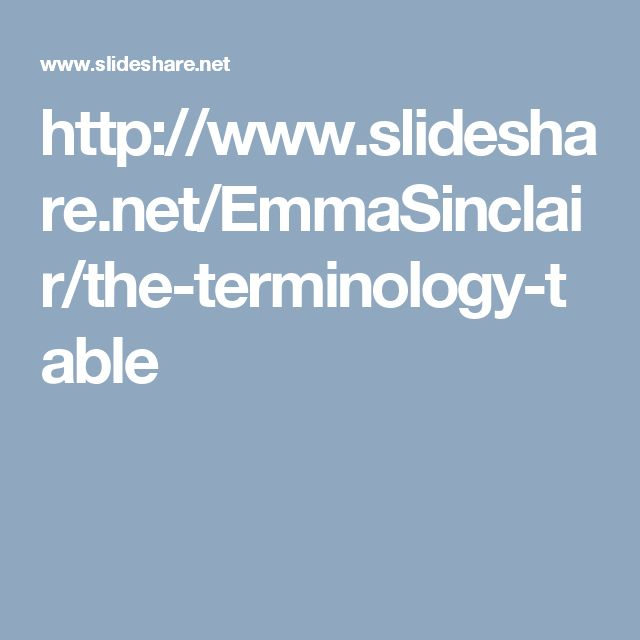 http://www.slideshare.net/EmmaSinclair/the-terminology-table