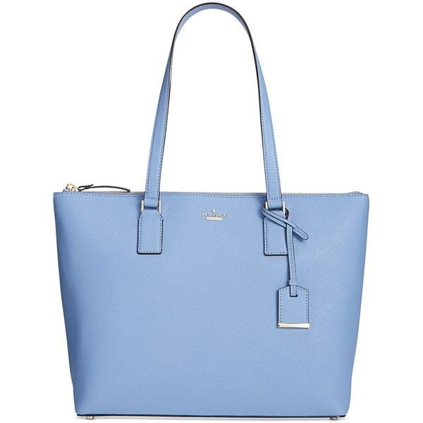 kate spade new york Cameron Street Lucie Tote (550 BAM) ❤ liked on Polyvore featuring bags, handbags, tote bags, tile blue, leather purses, kate spade handbag, kate spade tote, blue leather handbags and leather tote