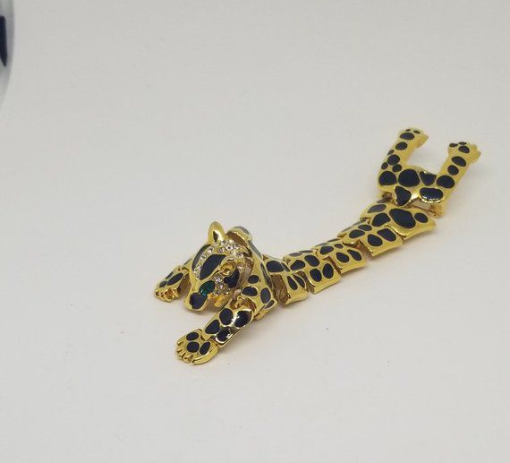 Large Vintage Articulated Rhinestone Shoulder Brooch in White Who Cares Can a Leopard Really Change His Spots Gold Leopard Design Black