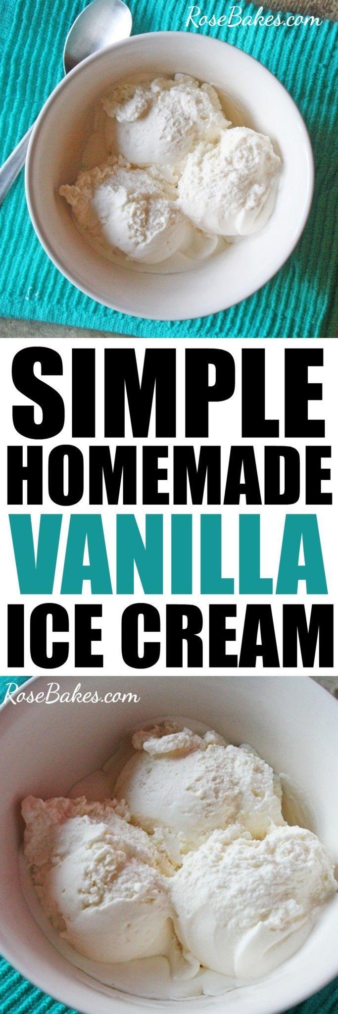 Simple Eggless Homemade Vanilla Ice Cream by RoseBakes