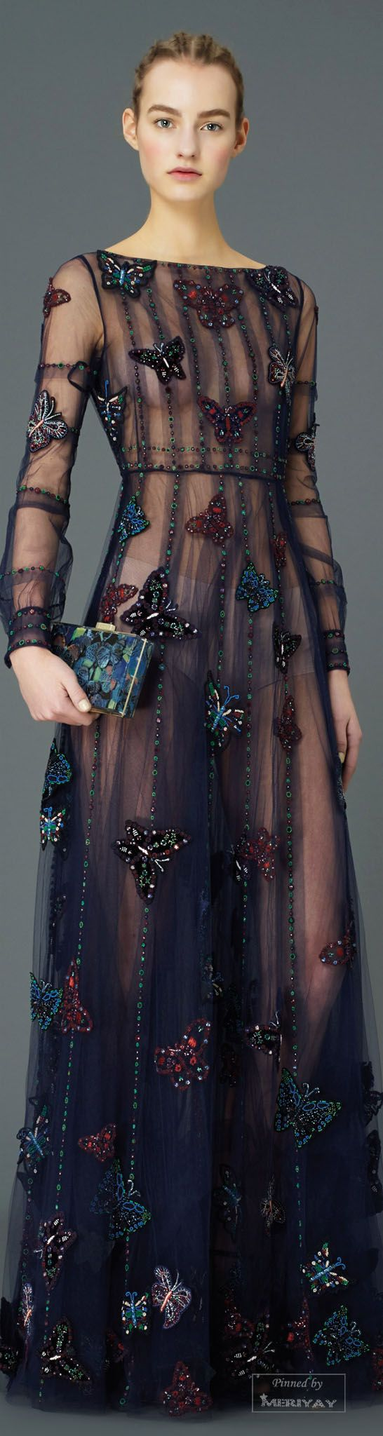 Valentino.Pre-Fall 2015. Create a series of embellished butterfly patches on a thick woollen fabric. sew the dress (since it's sheer the construction is clear) and stitch the butterflies you made to it.
