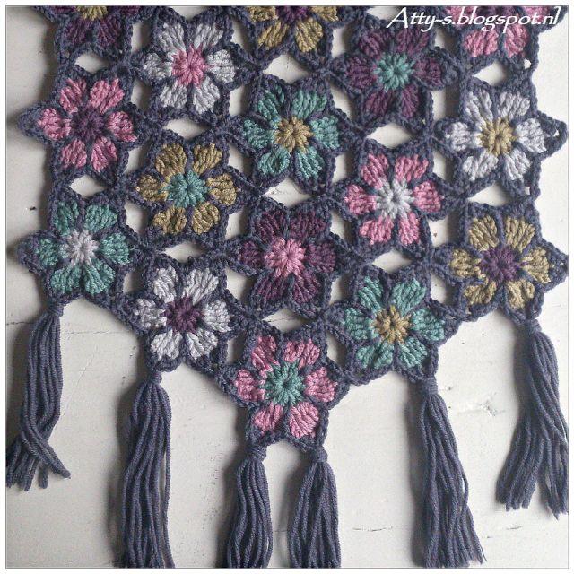Haakpatroon Bloemen Sjaal