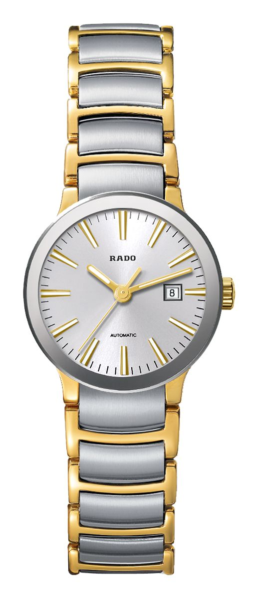 RADO Centrix Automatic, yellow gold PVD & st.steel watch. Made in Switzerland. R30530103. Authorized Rado Dealer. Free CDN shipping