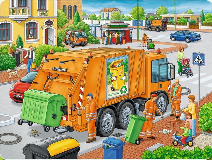 De vuilniswagen - praatplaat.