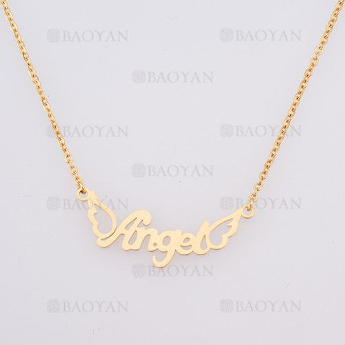 collar con nombre Angel en acero dorado inoxidable - SSNEG384259