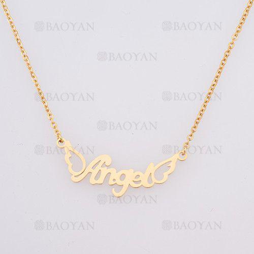 collar con nombre Angel en acero dorado inoxidable - SSNEG384259