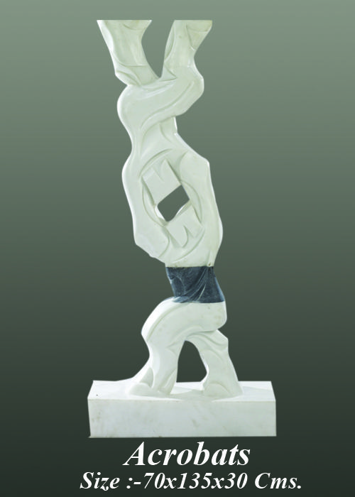 Neeraj Gupta Marble Sculpture Acrobats  Created by:- Neeraj Gupta  Medium:- marble Size:- 70x135x30Cms Price on Demand