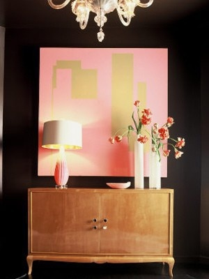 pink and gold: Wall Art, Colors Schemes, Black Gold, Jan Shower, Pink Art, Pink And Gold, Dark Wall, Black Wall, Pink Black