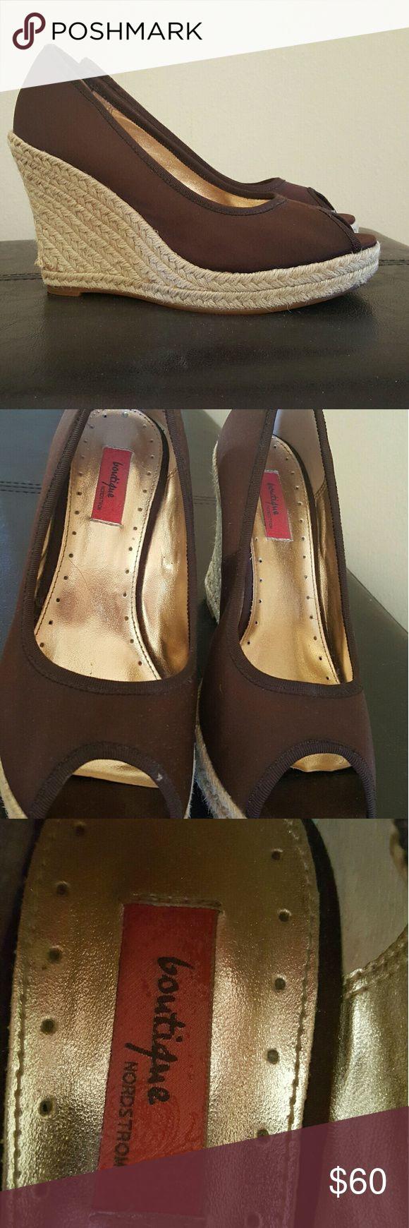 Nordstrom Boutique peep toe wedges Brown peep toe wedges Nordstrom Boutique Nordstrom Shoes Wedges