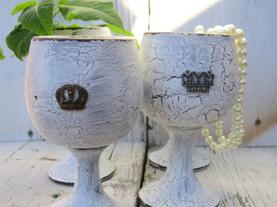decorative goblets ceramic goblets painted by ChippedPaints