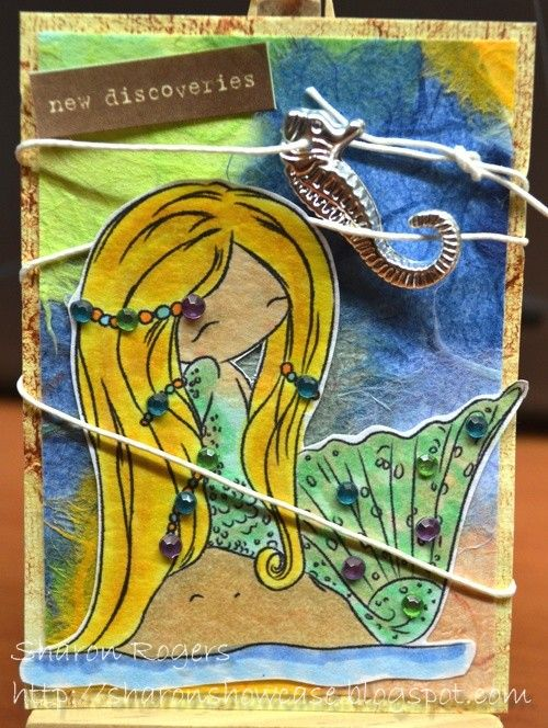Just Some Lines, ATC, Beach, Mermaid, Under the Sea, http://sharonshowcase.blogspot.com