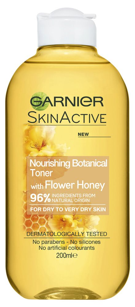 Garnier - Skin Active Nourishing Botanical Toner with Flower Honey Reviews | beautyheaven Summary: 1 review. Suggests for dry skin. Possibly soothing/hydrating. Not anti-acne. Not anti-aging. Alcohol.  Honey = interesting addition, haven't seen before
