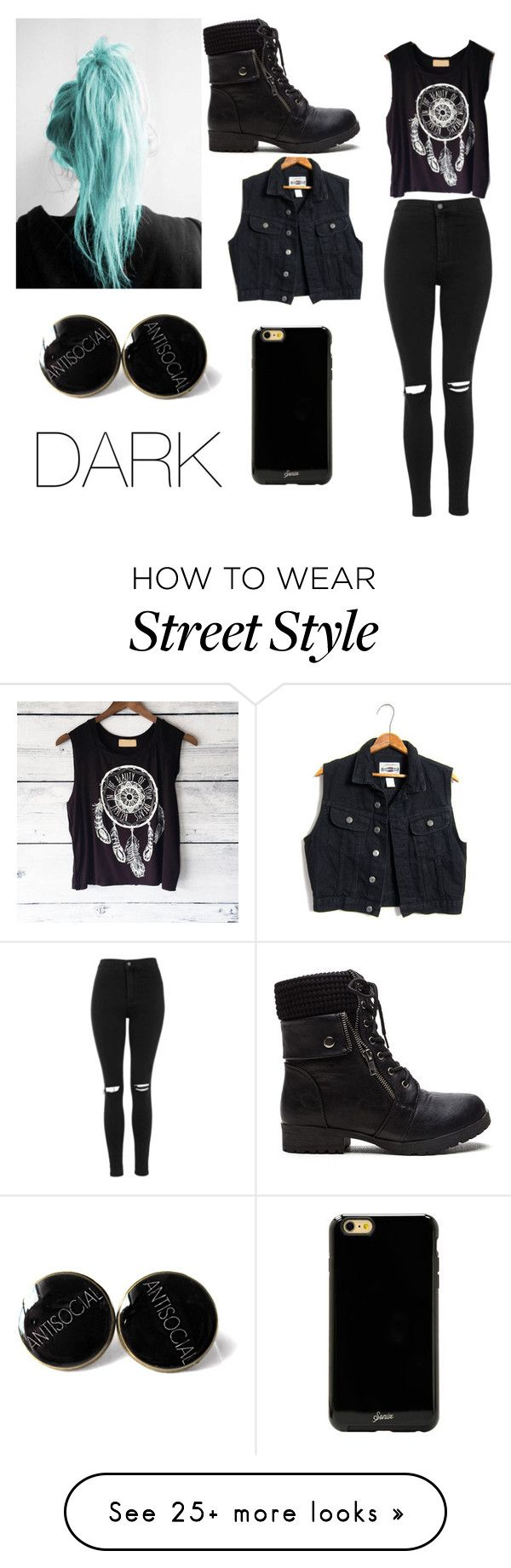 """Darker casual"" by army-kylee on Polyvore featuring mode, Topshop en Sonix"
