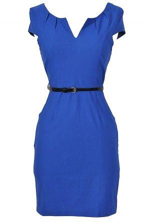 Melinda Belted Pencil Dress in Blue