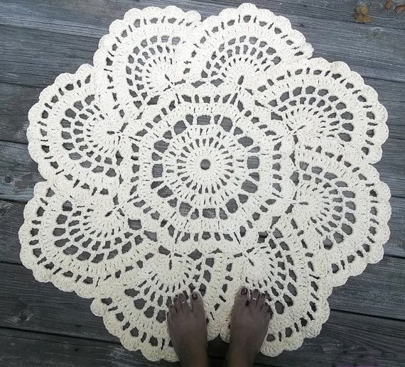 Cream Cotton Crochet Doily Rug in 36 Circle by byCamilleDesigns, $70.00