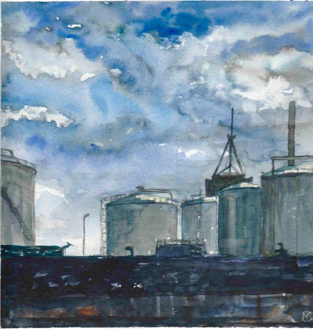 Aarhus havn - akvarel 25x25  Hvad laver hun nu? | kunstneren Mette Daa viser proces og værker