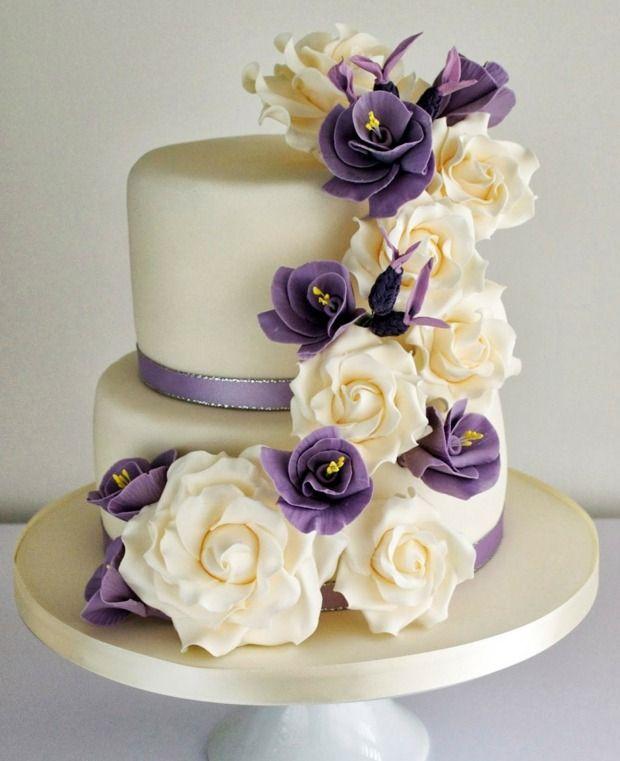 Wedding Cake Decore Lavande Et Roses