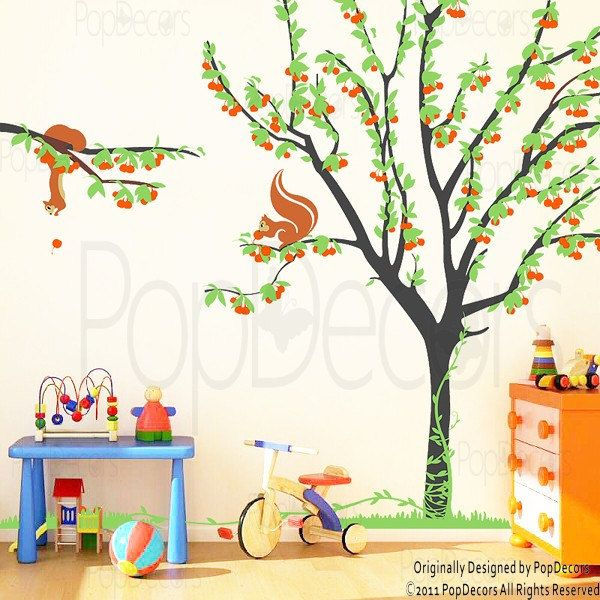Cherry Tree With Squirrels Wall Decal   PopDecors.com $65.00