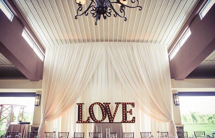 Love in Lights Backdrop for Wedding Party | Vintage wedding photography | www.newvintagemedia.ca | Mastronardi Estate Winery