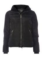 Womens Black Faux Fur Collar Padded Jacket- Black