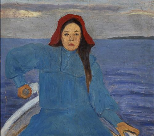 Rowing Girl with a Red Hat - Simberg, Hugo Finnish, 1873-1917 oil on cardboard, 42x48 cm.
