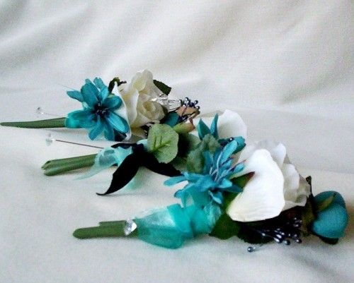 Teal wedding Flowers Silk Corsages and Boutonnieres bridal accessories | AmoreBride - Wedding on ArtFire