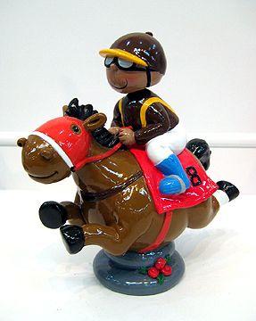 Bobble Head Jockey Boy on Horse Bank